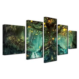 Tree Scenery Paintings UK - Enchanted Tree Scenery,5 Piece Home Decor HD Printed Modern Art Painting on Canvas (Unframed Framed)