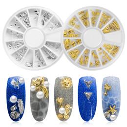 Rhinestone Spikes Studs NZ - Meet Across 1 Wheel 3D Metal Sea Shell Starfish Mixed Gold Silver Nail Art Rhinestone Stud Spike Nail Tips Stickers Tool Jewelry