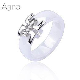 engagement ring finger for female 2019 - Wholesale- A&N 2017 Cheap Women Finger Ceramic Rings Engagement Wedding Rings For Women Cubic Zirconia Silver Female Rin