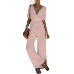 Yellow bodYsuits online shopping - Half Sleeve Elegant Jumpsuits For Women Summer Playsuit Ruffle Romper Deep V Neck Ladies Sexy Bodysuits Wide Leg Body Suits