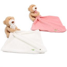 BaBy sleep towel online shopping - Baby Sleeping Appease Blanket Toddler plush Toys cartoon Bear Dolls Appease towel cm C4791