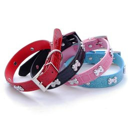 $enCountryForm.capitalKeyWord UK - Bone Pet Dog Collar Durable PU Leather Adjustable Puppy Cat Strap Collar XS S M L 5 colors
