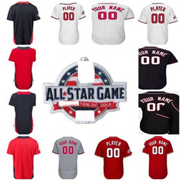 f08f5116d American National League World USA 2018 All-Star Game Washington  Personalized Your Name NO. Baseball Jersey Navy Red Men Women Youth Toddler
