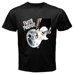 Black S Guitar Canada - Summer Style Fashion New FASTER PUSSYCAT Guitar Logo Rock Legend Men's Black T-Shirt Size S-3XL Novelty Tee Free Shipping