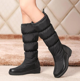 Lady Snow Boots Mid Calf Australia - New Fashion Women Mid Calf Boots Warm Down Ladies Snow Boots Platform Thick Fur Womens Shoes Wedges Winter ADF-6525