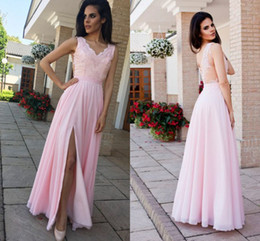 $enCountryForm.capitalKeyWord Australia - Pretty Pink Evening Bridesmaid Dresses With Slit Chiffon V neck Applique Hollow Back Pleated Long Cheap Prom Formal Dress Gowns New