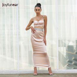 20187 Joyfunear Spaghetti Strap Hollow Out Dress Summer Crop Top Diamonds  Vestidos Sexy Party Dresses Bodycon Women Clothing 40afd664c4e9