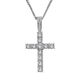 $enCountryForm.capitalKeyWord UK - Fashion Men Hip Hop Stainless Steel Jewelry Cross Pendant Necklace Full Rhinestone Design Silver Color Chain Jewellery Men Necklace