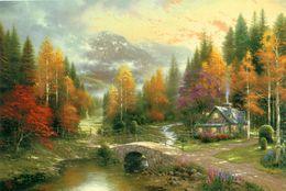 $enCountryForm.capitalKeyWord Australia - Thomas Kinkade Oil Painting art Landscape series Reproduction High Quality Giclee Print on Canvas Modern Home wall Art Decoration GDFH477