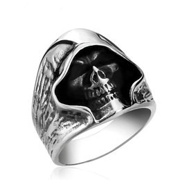 punk rings Australia - 2018 New Hell Death Skull Rings Man Punk Biker Mysterious Scarf Skull Shape Stainless Steel Ring High Quality Party Men's Ring