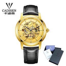 5838047a2ec Compre 2018 Nova Cadisen Top Marca De Luxo Assistir Homens Skeleton Mecânico  De Couro Relógio De Pulso Mens Business Relógios De Moda De  Chineseshoppingmall ...