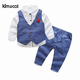 14c3e7ada Kimocat Spring and Autumn New Fashion 3pcs Waistcoat+Shirt+Pants Boy Kids  Children's Set Long Sleeve Vest Gentleman Boys Clothes Y1893005
