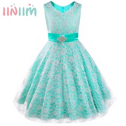 $enCountryForm.capitalKeyWord UK - Kids Girls Dress Formal Party Ball Gown Pageant Graduation Dress Girl Floral Lace Rhinestone Vestidos Dress Wedding Flower 4-16Y