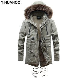 $enCountryForm.capitalKeyWord NZ - YIHUAHOO Winter Jacket Men Brand Multi Pocket Thick Long Fleece Fur Warm Parka Jacket Hooded Cotton Overcoat Windbreaker Men