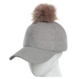 $enCountryForm.capitalKeyWord UK - Baseball cap For Lady Lovely pompon Comfort and warmth Baseball cap made of cotton Pure color Oblique stripe cotton Hip Hop Hat