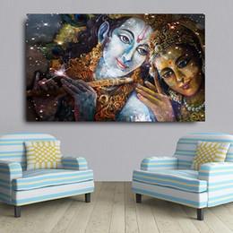$enCountryForm.capitalKeyWord NZ - Handpainted & HD Print Religious Fantasy portrait Art oil painting Krishna And Radha Buddha,High Quality Wall Art On Canvas Home Deco