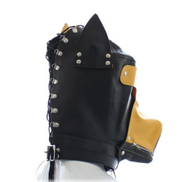Dog Zipper Australia - New PU Leather Dog Doggy Puppy Full Hood Mask Month Zipper & Eyes patch #Q76