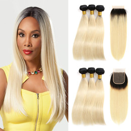 tone color 14 hair NZ - Straight Ombre Blonde 4x4 Free Part Lace Closure With 3 Bundles 1B 613 Two Tone Bundles With Closure Brazilian Virgin Human Hair Weaves