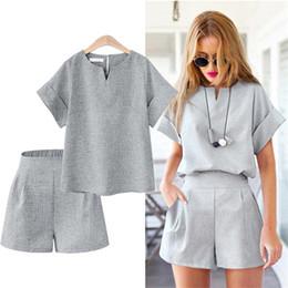 Summer Short Pants Set For Woman Canada - ACHIEWELL Women Office Suit Basic T Shirt Short Sleeve + Wide Leg Short Pant Blue Grey Flax Two Piece Set XL-5XL For Summer