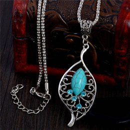 $enCountryForm.capitalKeyWord NZ - SHUANGR Vintage Retro style leaves necklace fine blue natural stone charm pendant necklace Silver-color jewelry for women