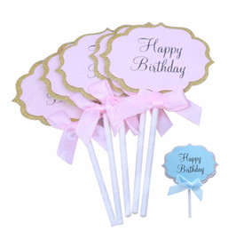top table wedding cake NZ - Blue Pink Cake Flags Happy Birthday Cake Topper Cake Top Decoration for Boy Girl Birthday Party Wedding Supplies