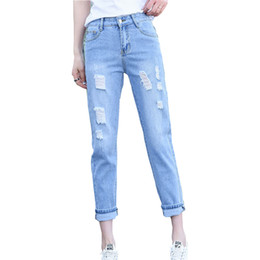 Lace Girl Women's Jeans 2018 Fashion Mid Rise Solid Vintage Straight-Leg Hole Ripped Denim Pants Ankle Length Roll Up Mom Jeans