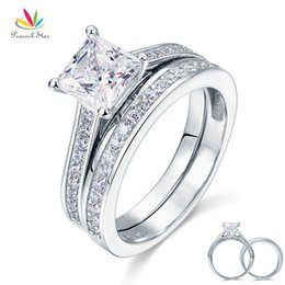 star 5.5 NZ - Peacock Star 1.5 Ct Princess Cut Solid 925 Sterling Silver 2-Pcs Wedding Promise Engagement Ring Set CFR8009S S18101607