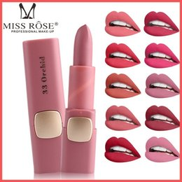 Discount dark purple black lipstick - Factory Direct DHL Free Miss Rose Brand Matte Lipstick 18 Colors Waterproof Lips Moisturizing Easy To Wear Lip Sticks Gl