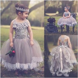 $enCountryForm.capitalKeyWord Australia - Pretty Princess Ball Gown Tulle Flower Girl Dresses Lace Applique Wedding Party Gowns Little Girls Prom Dress Tutu Girl Pageant Dress