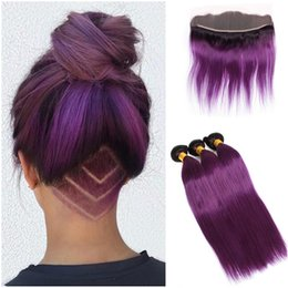 brazilian straight hair 3bundles 18 inches Australia - Dark Root Purple Ombre Brazilian Straight Human Hair 3Bundles with Lace Frontal 4Pcs Lot 1B Purple Ombre 13x4 Full Lace Frontal Closure
