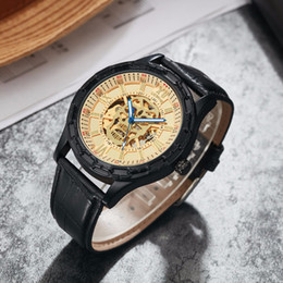 Luxury Skeleton Watches Australia - SEWOR Men Mechanical Wristwatches Automatic Self-Wind Leather Strap Watch Luxury Man Watches Skull Pattern Skeleton Watch SWQ49-201707