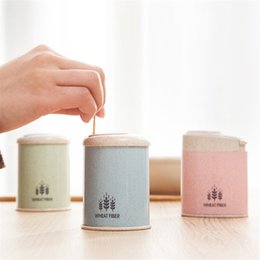 Plastic Toothpick Wholesale Australia - European Style Automatic Toothpick Holder Wheat Straw Storage Box Container Home Toothpick Holder Stocked Organizer