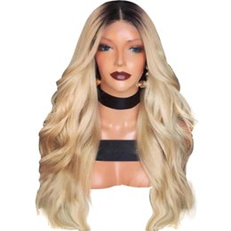Blonde two tone wigs online shopping - Two Tones b Ombre Blonde Body Wave Long Wigs Heat Resistant Glueless Synthetic Lace Front Wigs for Black Women
