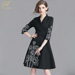 82488e2c712f H Han Queen New 2018 Black Autumn Dress Donna ricamo floreale OL Abiti da  lavoro Slim Vintage ufficio abiti da festa