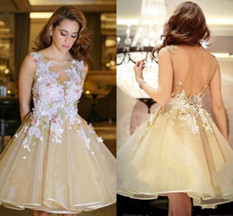 White classic graduation dress online shopping - Puffy Homecoming Dresses D Lace Floral Yellow Short Party Gowns V Back Open Graduation Dresses