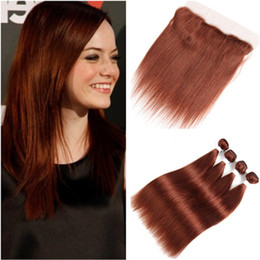 straight hair color 33 2019 - Brazilian Dark Auburn Human Hair 4 Bundles with Full Frontals Straight #33 Copper Red Virgin Hair Weaves with Lace Front