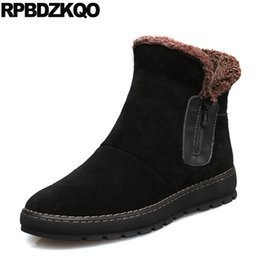 Wholesale British Style Short Fur Lined Snowboot Suede Shoes Ankle Faux Black High Top Zipper Booties Mens Winter Boots Warm Flat