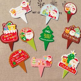 Xmas Cupcakes NZ - Christmas Xmas Cupcake Toppers Santa Claus Christmas Tree Cake Flags for Happy Christmas Party Decoration Supplies