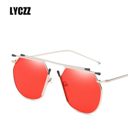 786c2d78d84 LYCZZ Fashion Cool Unique Alloy Flat Top Style Sunglasses Women Korean Brand  Designer Sun Glasses Ladies oculos de sol feminino