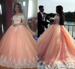 Chinese  Plus Size Sweet 16 Quinceanera Dresses Ball Gowns 2019 Off the Shoulder Appliqued African Formal Party Gowns Saudi Arabic Prom Dresses Long manufacturers