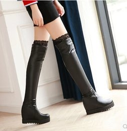 $enCountryForm.capitalKeyWord NZ - Korean version of the increase in knee-length boots elastic stovepipe high-heeled boots with lace autumn and winter large