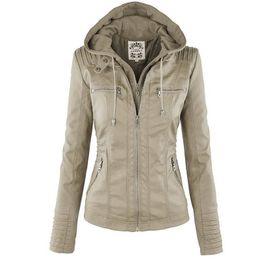399fca57c32 Fashion Winter Faux Leather Jacket Women Basic Jackets Hooded Black Slim  Motorcycle Short Outerwear Women Coats Female