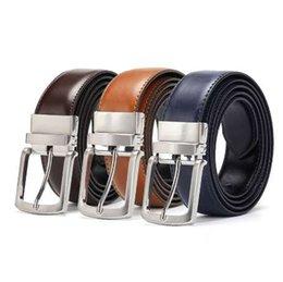 ebbfcaec5cf Men s Genuine Leather Belt Reversible For Jeans Male Rotated Buckle Dress  Belts Designer Cowskin Leather Belts For Men Black
