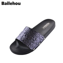 Bailehou Fashion Women Flat Slippers Casual Flats Shoes Beach Slipper Bling  Sequined Cloth Slip On Slides Platform Flip Flops bb1e7c9d0a6a