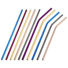 Discount mug foods - Colorful Stainless Steel Straight Curved Drinking Straw For Mugs 6*215mm rainbow bend Straws Bar Bent Coffee Drinking St
