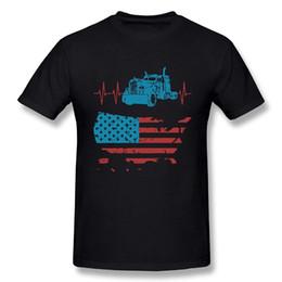 3e19142e6 Funny Men's Truck Driver Heartbeat Vintage American Flag 100% Cotton Prints  Casual Short Sleeve T-shirt 2018 Latest