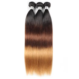 Wholesale 2018 New Arrival Ishow Omber Brazilian Virgin Hair Peruvian Malaysian straight bundles Three Tone B Ombre Indian Hair Extensions
