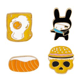 $enCountryForm.capitalKeyWord Australia - Cute Bread Skull Enamel Brooches Pins Small Size Lapel Pin For Women Mens Suit Shirt Backpack Hat Denim Button Badge Safe Gift High Quality