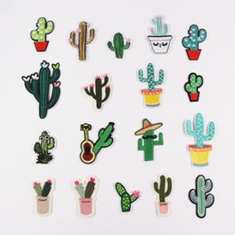 Chalk Machine Australia - Diy Cactus patches badges for clothing iron embroidered patch applique iron on patches sewing accessories on clothes bags