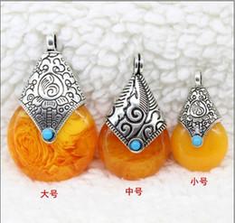 $enCountryForm.capitalKeyWord NZ - 10Pcs lot Nepal Amber Beeswax Tibet Silver Turquoise Beeswax pendant Pendant Necklaces